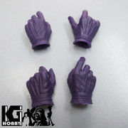Custom 1/6 scale Purple Gloved Palms Hands x 2 pairs