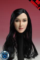 SUPER DUCK SDH001-A  1/6 Scale Asian Girl Head Sculpt Black Hair