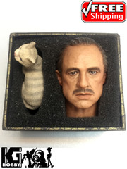 Burning Soul 1/6 Sacle Godfather Marlon Brando Head Sculpt + Cat