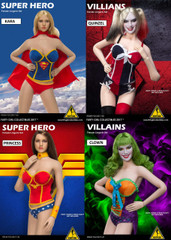 Flirty Girl  Super Hero & Villains 1/6 Scale Lingerie set - 4 Models