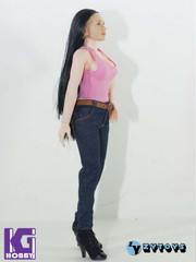 ZY TOYS 1/6 girl figure outfits-Pink Vest top+Jeans