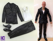 1:6 scale Black Leather Suit+White Vest+Shoes Set