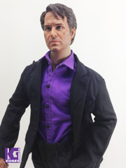 1:6 scale Black Suit+Purple Shirt+Black Shoes Set