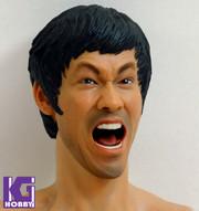 Custom 1/6 Action Figure Head Sculpt-Bruce Lee-Roaring Version