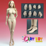 Play Toy 1/6  scale Female Pale Nude figure body+Blonde Head Sculpt set