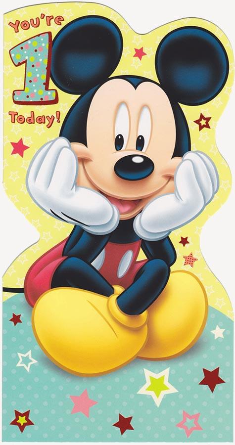 Disney Mickey Mouse 1st Birthday Card DieCut CardSpark – Mickey Mouse Birthday Cards