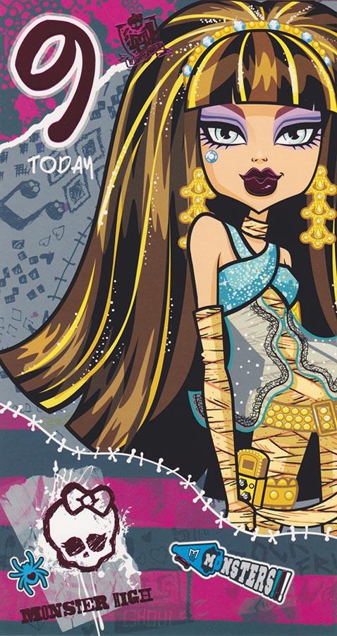 Monster High Age 9 Birthday Card 9th CardSpark – Monster High Birthday Card
