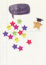Thank You Teacher Card - Stars