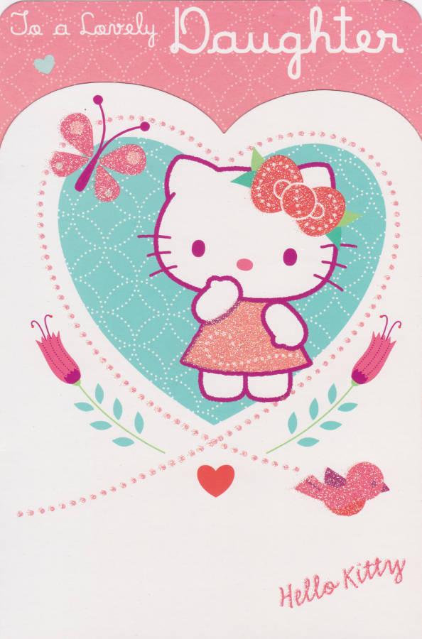 Hello Kitty Daughter Birthday Card Glitter Loveheart CardSpark – Daughter Birthday Cards