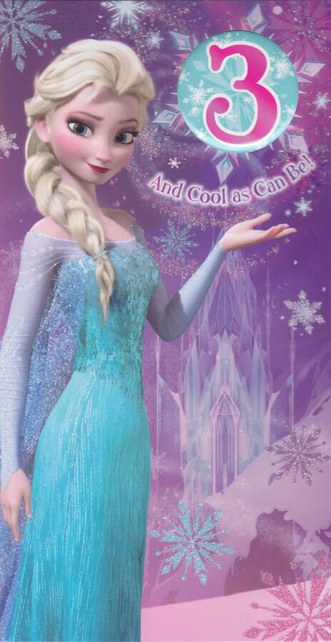 Disney Frozen Age 3 Birthday Card With Badge 3rd