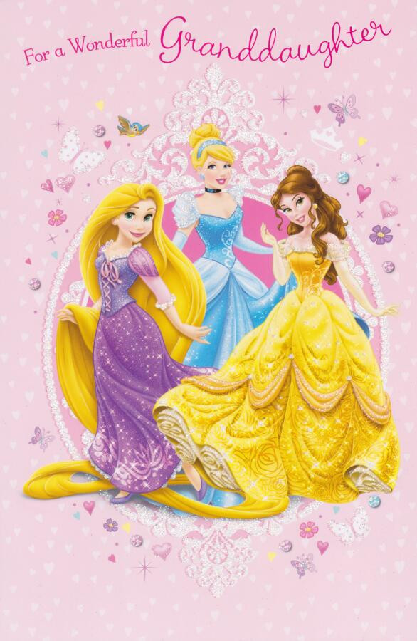 disney princess granddaughter birthday card with