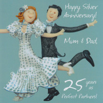 25th Silver Anniversary Card - Mum And Dad