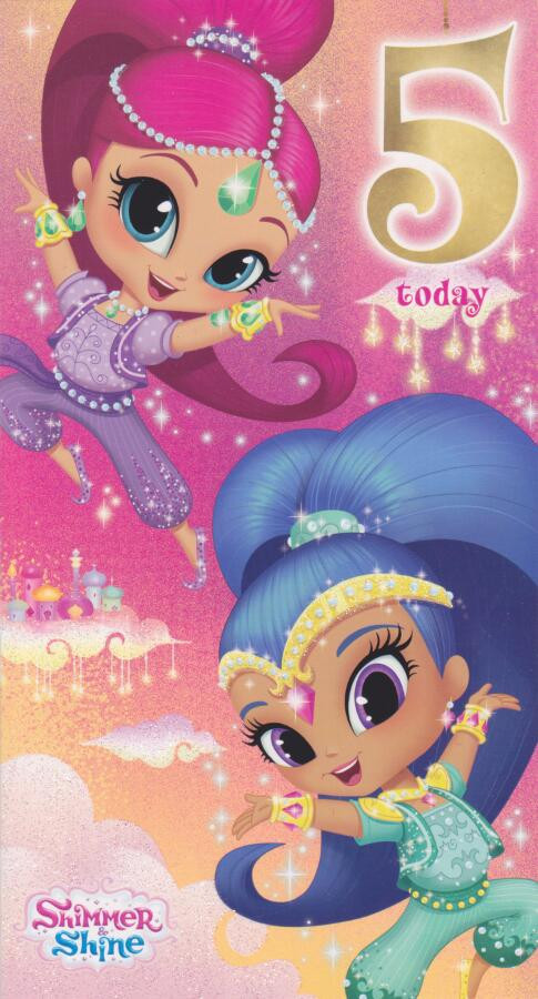 Shimmer and shine age 5 birthday card 5th cardspark shimmer and shine age 5 birthday card 5th shimmer shine 5th birthday card bookmarktalkfo Image collections