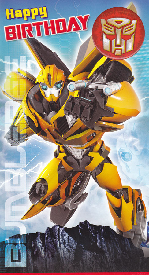 Transformers BumbleBee Birthday Card With Badge CardSpark