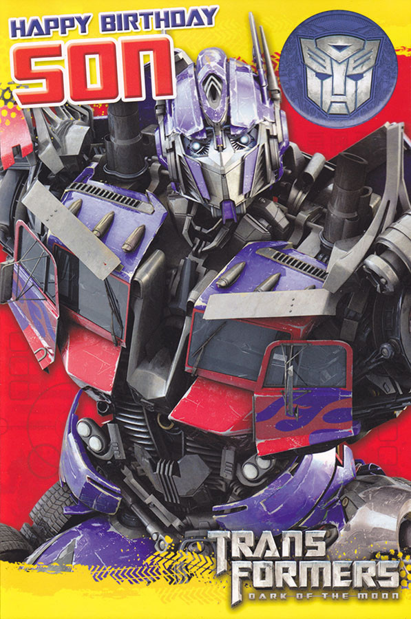 Transformers Son Birthday Card With Badge CardSpark