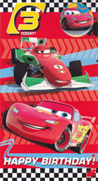Disney Cars Age 3 Birthday Card With Badge