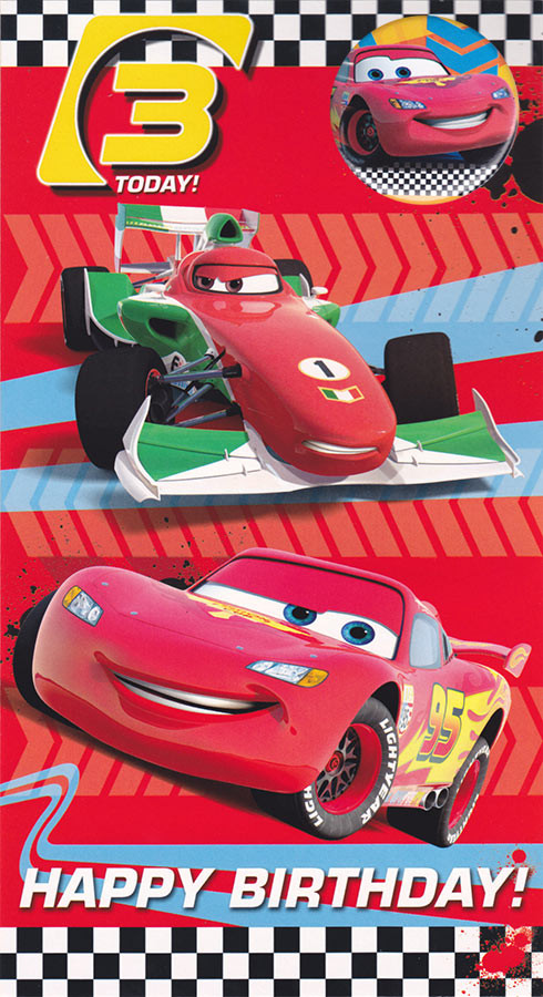 Disney Cars Age 3 Birthday Card With Badge CardSpark – Disney Cars Birthday Cards