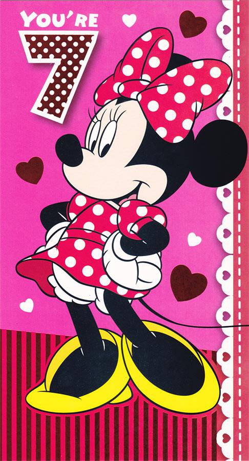 Disney Minnie Mouse Age 7 Birthday Card CardSpark – Minnie Mouse Birthday Card