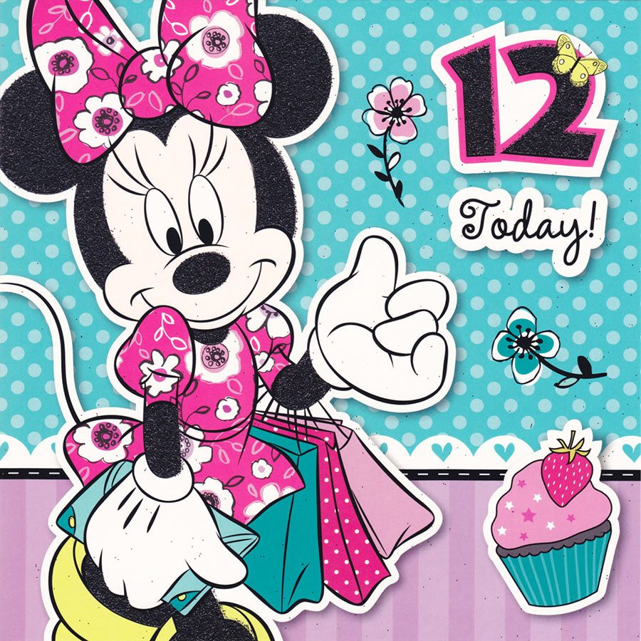 12th birthday cards cardspark disney minnie mouse age 12 square birthday card kristyandbryce Choice Image