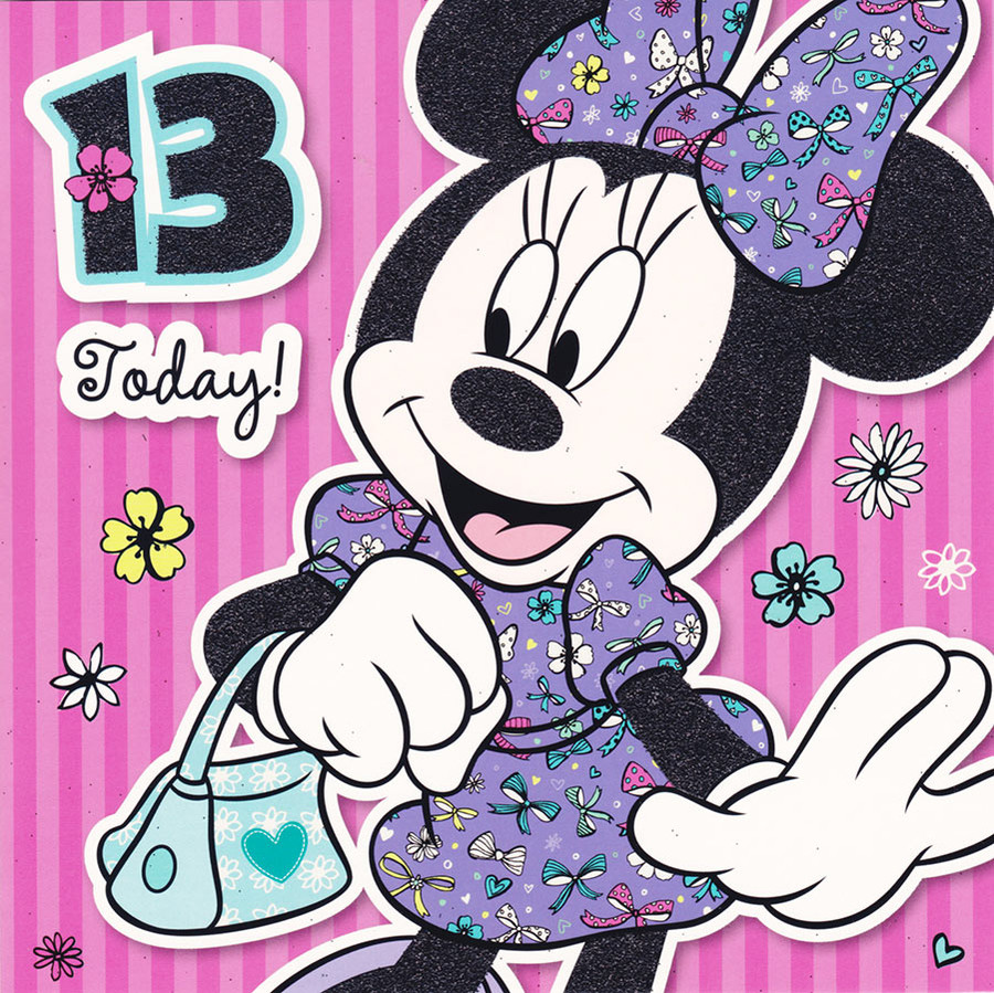 Disney Minnie Mouse Age 13 Square Birthday Card CardSpark