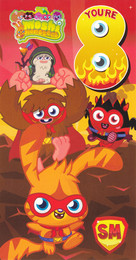 Moshi Monsters Age 8 Birthday Card With Badge