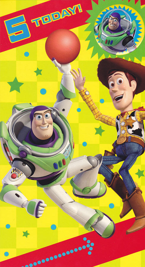 Toy Story Age 5 Birthday Card With Badge CardSpark – Buzz Lightyear Birthday Card