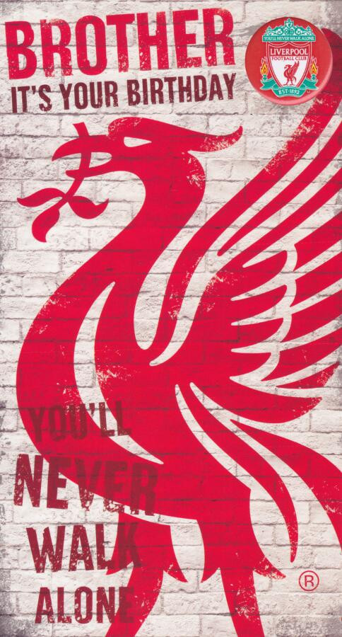 Liverpool Football Club Brother Birthday Card With Badge CardSpark – Liverpool Fc Birthday Card