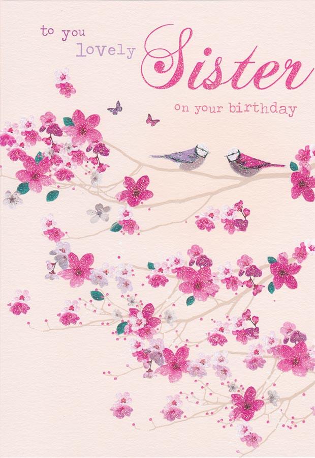 Sister Birthday Card Birds And Blossom Birdsong CardSpark – Birthday Cards Sister