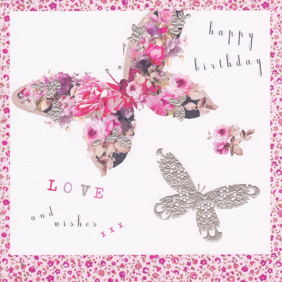 Flower Butterfly Birthday Card Stephanie Rose CardSpark – Butterfly Birthday Card