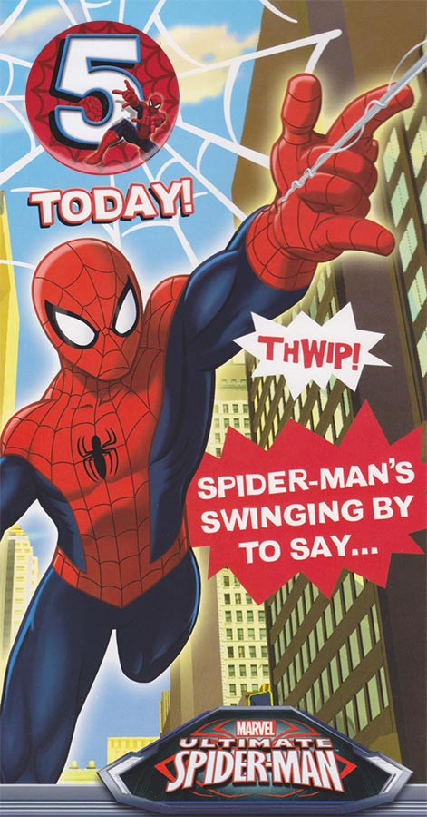 Spiderman 5th birthday card with badge cardspark spiderman age 5 birthday card loading zoom bookmarktalkfo Image collections