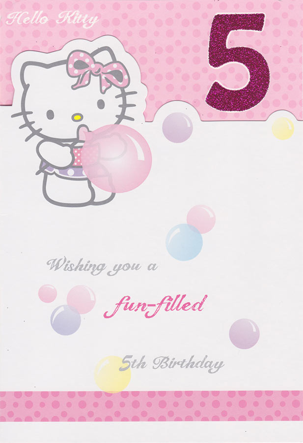 Hello kitty age 5 birthday card cardspark hello kitty 5th birthday card loading zoom bookmarktalkfo Image collections