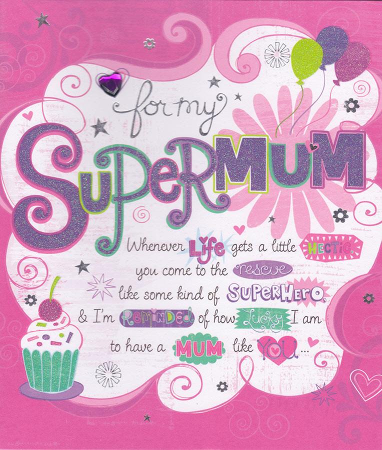 Carlton Cards Super Mum Birthday Card CardSpark – Birthday Cards for Mum