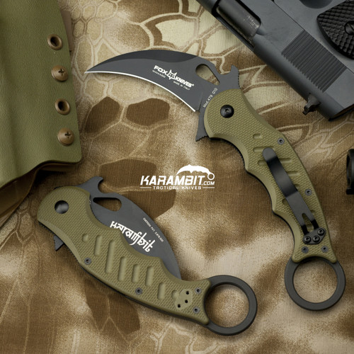 Fox 479 OD Green G10 Folding Karambit - Emerson Wave