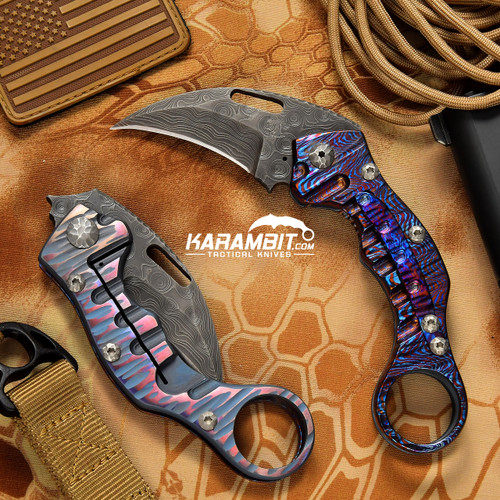 James Coogler's Damascus Timascus Two Face Stryker Folding Karambit