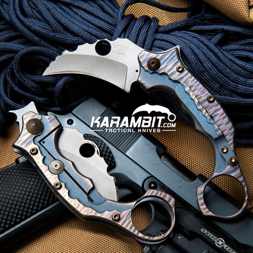 James Coogler's Bronze Blue Rockface Smasher Prototype Flipper Karambit (CooglerBrnzBluRkSmshrKbit)