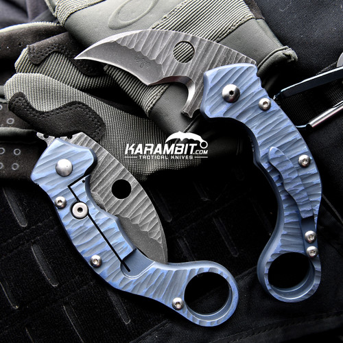 James Coogler's Blue Rocked Reaper X2 Folding Karambit
