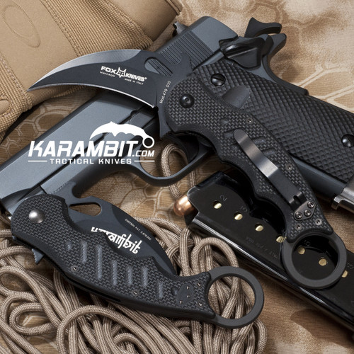 Fox 479 Black G10 Folding Karambit - Emerson Wave (FOX479)