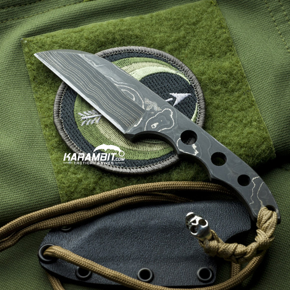 James Coogler's Damascus Wharncliffe Fixed Neck Knife (CooglerDamascusWharncliffeNeckKnife)
