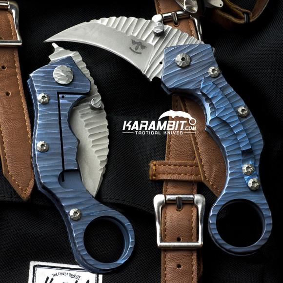 James Coogler's Blue Rockface Stryker Folding Karambit  (CooglerBlueRockfaceStryker)