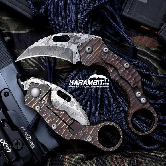 James Coogler's Acid Washed Skull Stryker Folding Karambit (CooglerSkullStryker)
