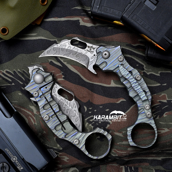 James Coogler's Acid Etched Flame Draco Folding Karambit (CooglerFlameDraco)