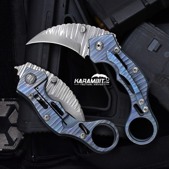 James Coogler's Blue Skeletonized Stryker Folding Karambit (CooglerBlueSkelStryker)