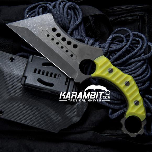 R.S. Knifeworks Dayglow Green G10 Wilson Ringed Butcher (RSKGlowGrnWilsonButch)