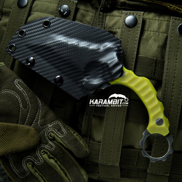 R.S. Knifeworks Dayglow G10 Prototype Double Ringed Terror Butcher (RSKDblRngdTerrorButch)