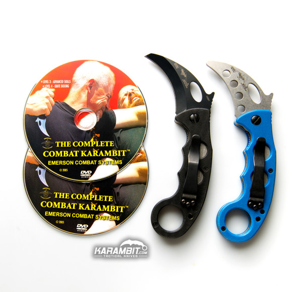 Emerson Black Combat Folding Karambit & DVD Training Package - 3 in 1 (EmersonBlkKbit+EmrsnTrnr+DVDPkg)