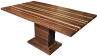 Pedestal Dining Table with Black Walnut, Bloodwood, Yellowheart, American Cherry and Maple