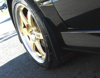 Rally Armor Black/Red Classic  Mud Flaps - Mitsubishi EVO 8/9/MR