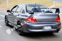 Rally Armor Black/Grey Classic  Mud Flaps - Mitsubishi EVO 8/9/MR