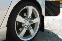 Rally Armor Black/Silver Urethane  Mud Flaps - 2004-2009 Mazda3/Speed 3