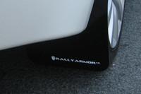 Rally Armor Black/White Urethane  Mud Flaps - 2008+ Mitsubishi EVO X
